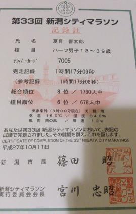 新潟シティマラソン 記録証 完走証