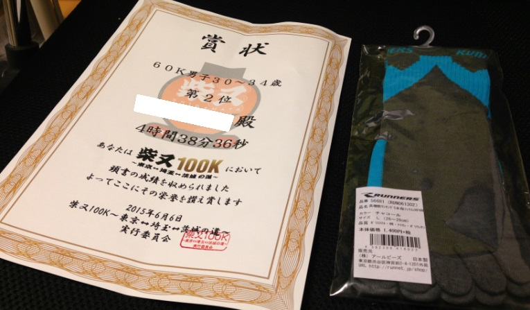 東京柴間100k年代別入賞2015