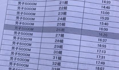 022日体大記録会プログラム
